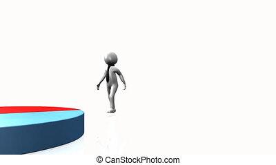 3D man presenting statistics