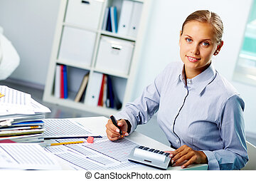 Successful accountant - Portrait of a young happy ...