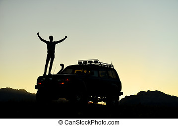 successful adventure with land vehicle