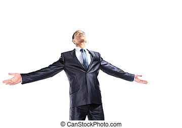 Successful african business man with arms open - isolated over white background