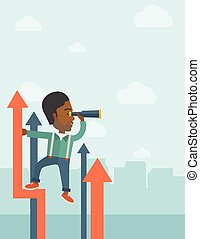 A successful african businessman stand on top of graph arrow using his telescope looking how high he is. Business success, self development concept. A Contemporary style with pastel palette, soft blue tinted background with desaturated clouds. Vector flat design illustration. Vertical layout.