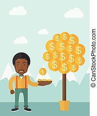Successful African businessman standing while catching a dollar coin from money tree.