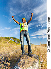 successful african construction worker