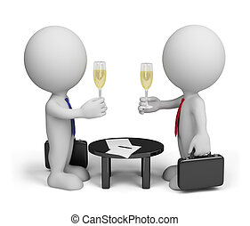 Successful agreement - Two men signed a document. 3d image. ...