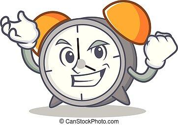 Successful alarm clock character cartoon