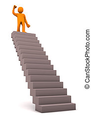 Successful Ambition - Orange cartoon character on the stair...