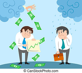 Successful and failed businessman characters contrast concept vector illustration