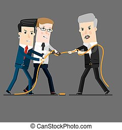 Successful and powerful businessman competing with group businessmen in a tug of war battle, for leadership or business competition.  Business concept cartoon illustration