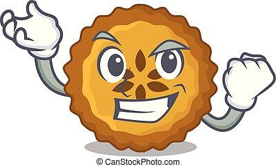 Successful apple pie on a cartoon table