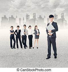 Successful Asian business team