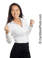 Successful Asian Woman cheering