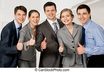 Successful associates - Portrait of happy co-workers looking...