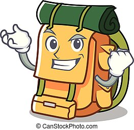 Successful backpack character cartoon style