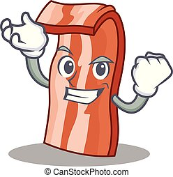 Successful bacon character cartoon style vector illustration