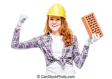 successful builder fragile woman, portrait on white background