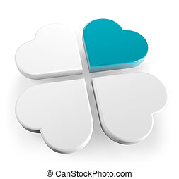 successful business - abstract four-leaf clover with a blue ...