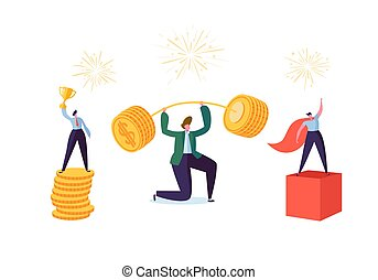Successful Business Characters. Businessman Lifting Up Barbell with Coins. Man with Golden Cup. Goal Achievement Financial Success Concept. Vector illustration