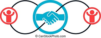 Successful Business creative logo, handshake deal sign,...