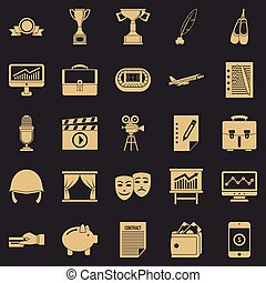 Successful business icons set, simple style - Successful...