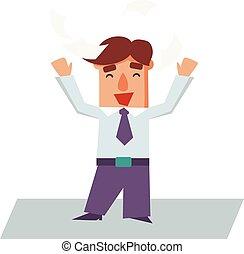 Successful Business Man Cartoon Character Vector Illustration