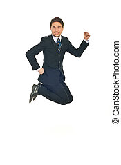 Successful business man jumping