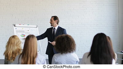 Successful Business Man Leading Presentation On Conference...