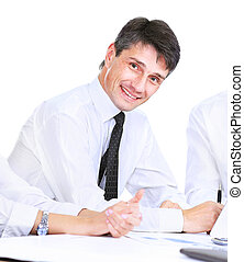 Successful business man on a white background, smiling and looking at the camera
