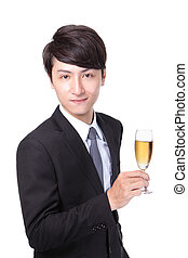 Successful business man toasting with Champagne