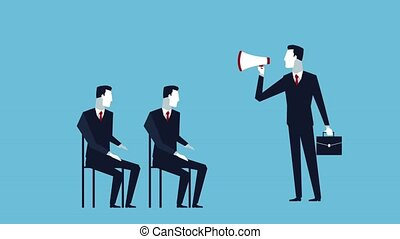 successful business man training with megaphone avatars