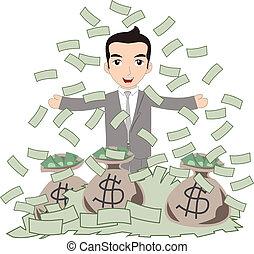 Successful Business Man under Money