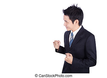 Successful business man with arm raised isolated on white