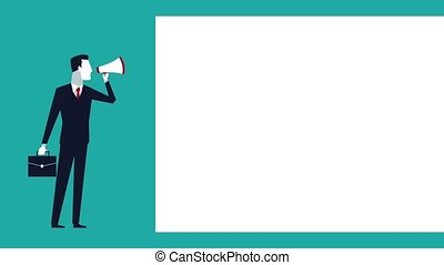 successful business man with megaphone avatar animation...