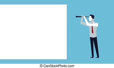 successful business man with telescope avatar animation...