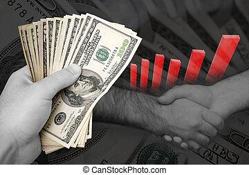 Successful Business Marketing Deal - Handful of cash, profit...