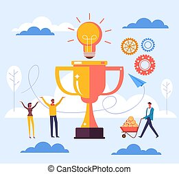 Successful business moving up teamwork winners concept. Vector flat graphic design illustration