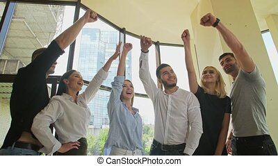 Successful business people celebrate victory - Successful ...