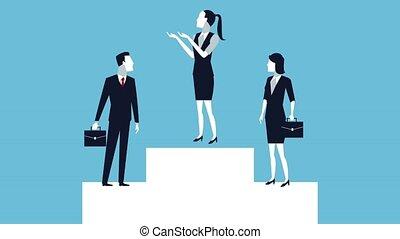 successful business people in podium avatars
