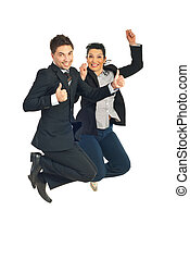 Successful business people jump - Two successful business ...