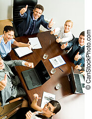 Successful business people - Above angle of business people...