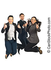 Successful business people team jumping