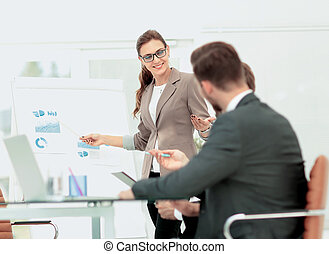 Successful business presentation of a woman at the office -...