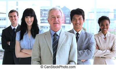Successful business team applauding