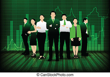 easy to edit vector illustration of successful business team infront of graph