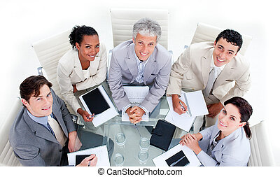 Successful business team having a brainstorming