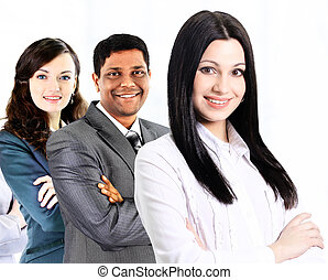 successful business team on a white background