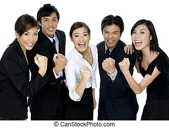 Successful Business Team - A group of young asian business...