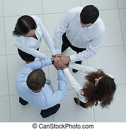 successful business team showing unity