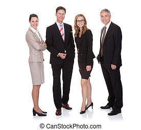 Successful business team with two attractive businesswoman...