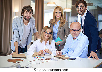 Successful business team - Company of successful business...