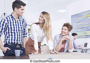 Successful business team - Young and successful business...